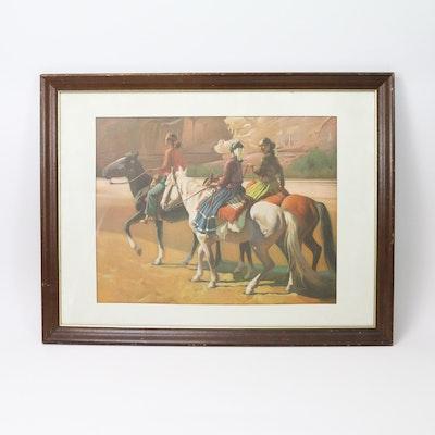 Framed Print of Native Americans on Horseback