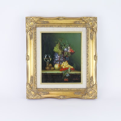 Framed and Signed Oil on Canvas Still Life by Miller