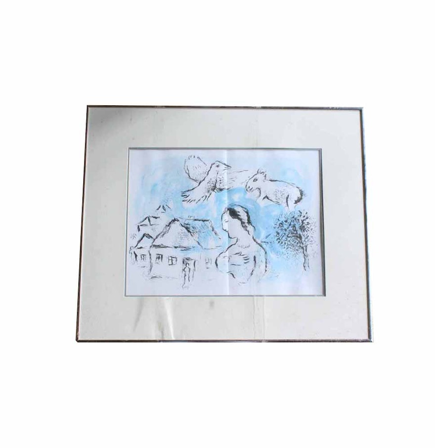 Marc chagall the village lithograph from derriere le for Derriere le miroir