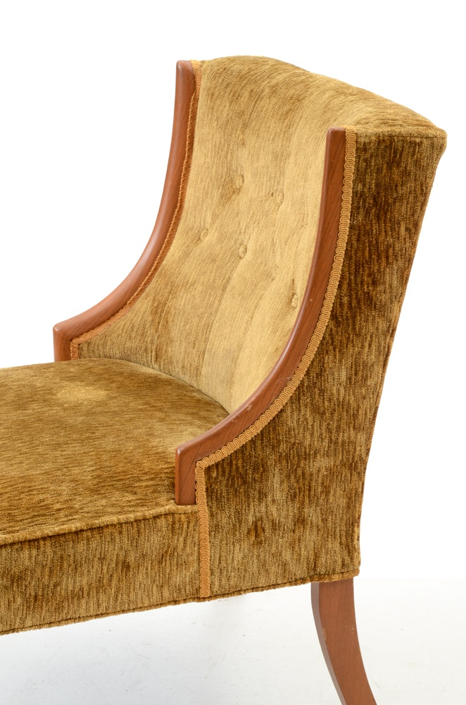 Upholstered Gold Chenille Side Chair Ebth