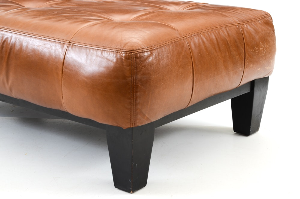 "Pottery Barn ""Sullivan"" Rectangular Brown Leather Ottoman ..."