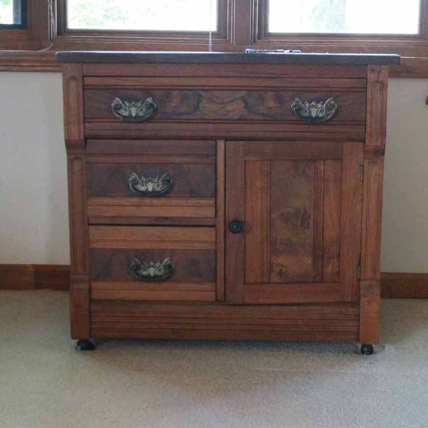 Antique Eastlake Walnut Marble Top Commode Washstand Ebth