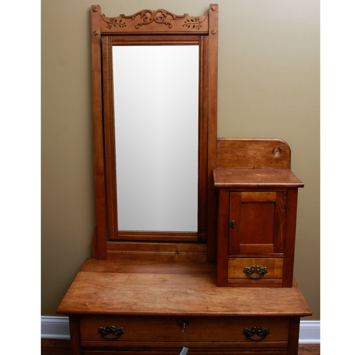 Antique Victorian Dresser With Full Length Mirror Ebth
