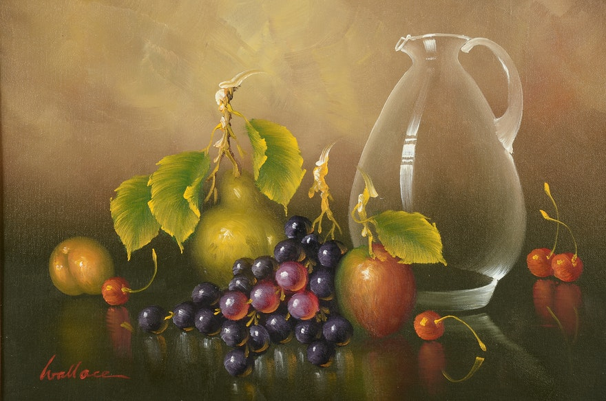 Red Still Life Oil Painting Flowers and Fruit Green Apple
