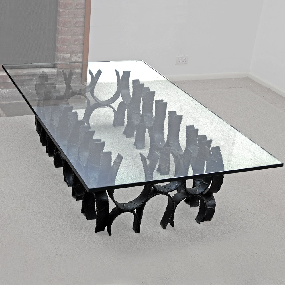 Paul Evans Sculpted Glass Top Coffee Table