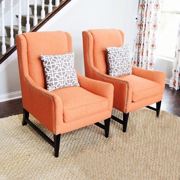 Pair Of Updated Wing Chairs Upholstered In Quilted Coral Fabric By Robert  Bruce ...