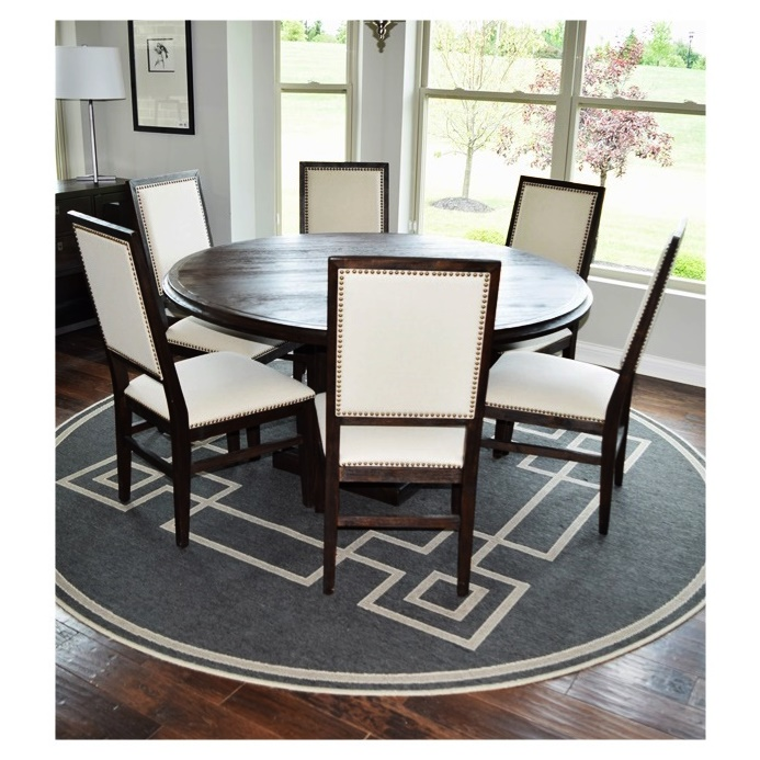 Hudson 60\u0026quot; Round Dining table and Six Chairs Upholstered in Neutral Linen : EBTH