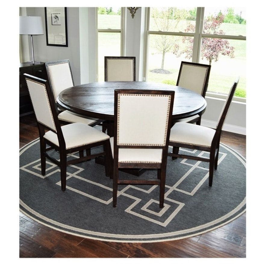 "Hudson 60"" Round Dining table and Six Chairs Upholstered ..."