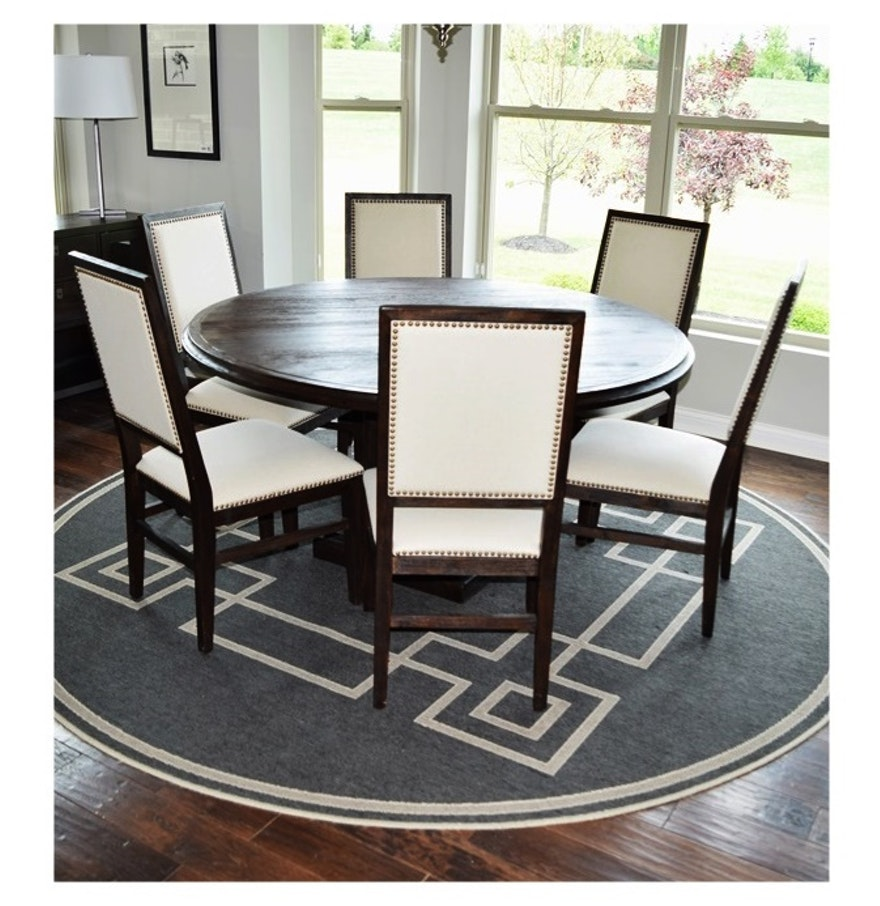 hudson 60 round dining table and six chairs upholstered. Black Bedroom Furniture Sets. Home Design Ideas