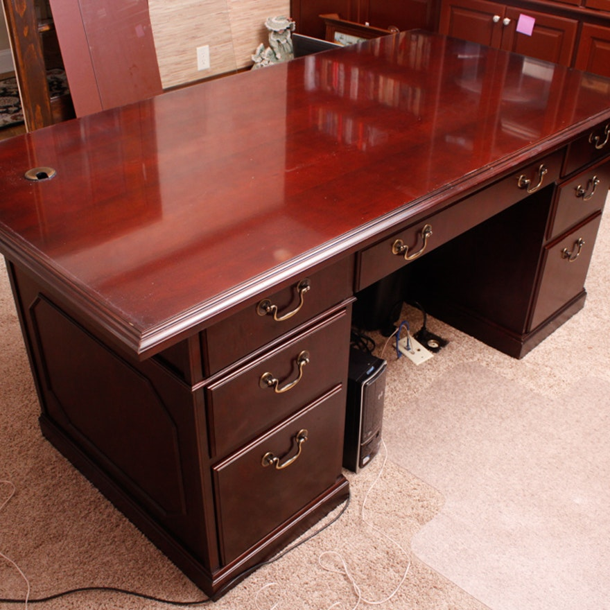 Office Couches For Sale: Mahogany Kimball Executive Desk