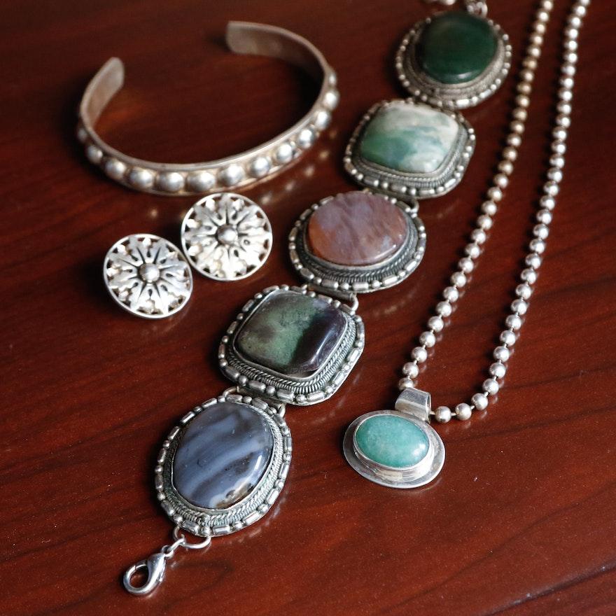 e4b6656d8 Sterling Bead Chain Pendant, Earrings, Cuff and Alpaca Silver Hardstone  Bracelet : EBTH