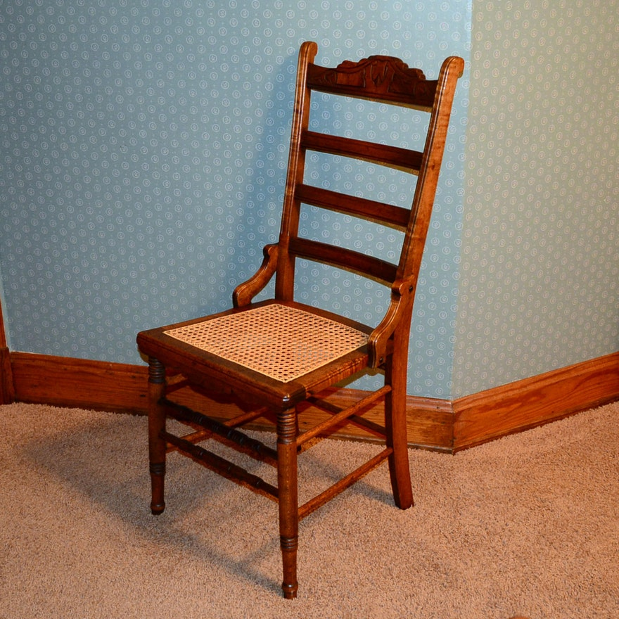 antique cane bottom chair ebth. Black Bedroom Furniture Sets. Home Design Ideas