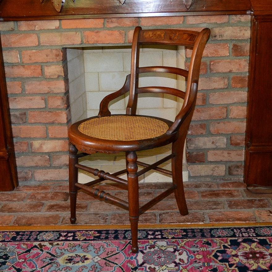 Antique Round Cane Bottom Chair ... - Antique Round Cane Bottom Chair : EBTH