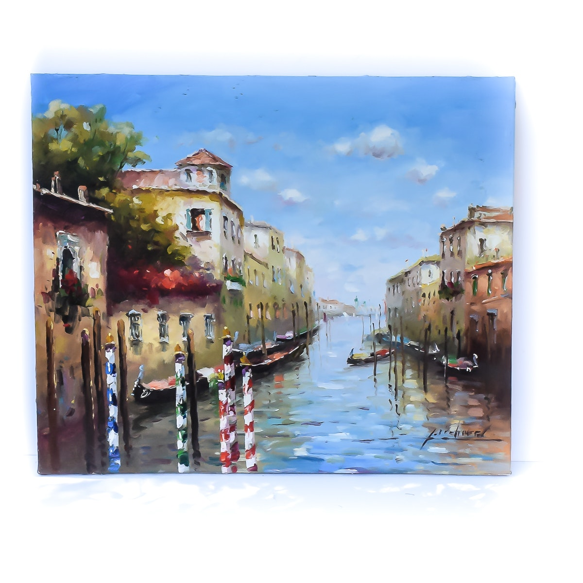 Contemporary Venice Canal Oil Painting