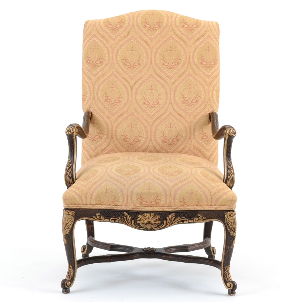 louis xiv style carved fauteuil chair ebth