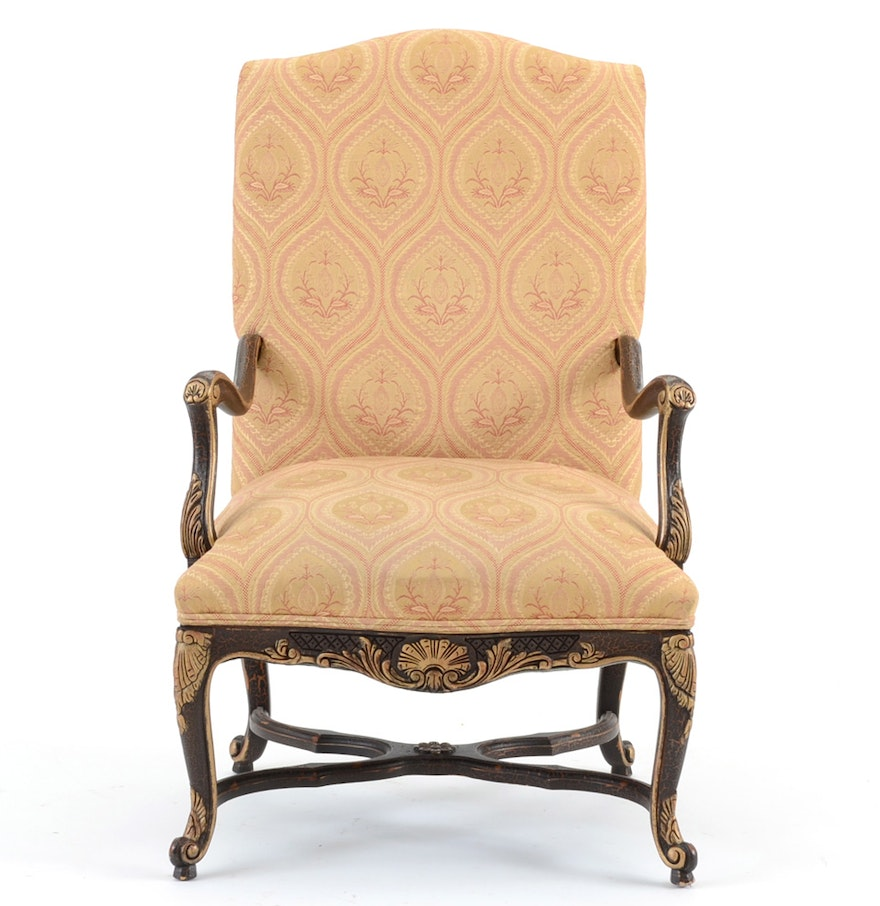 louis xiv style carved fauteuil chair ebth. Black Bedroom Furniture Sets. Home Design Ideas