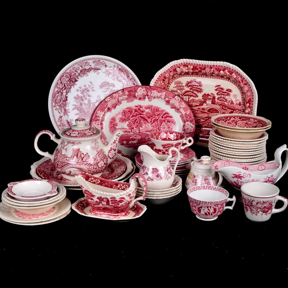 """Red and White Transferware Featuring Copeland's """"Spode's Tower"""" China"""