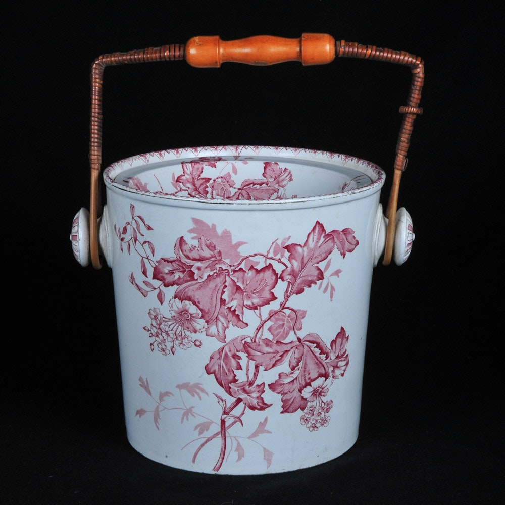 Antique Red and White Transferware Bucket from the Gresham Hotel