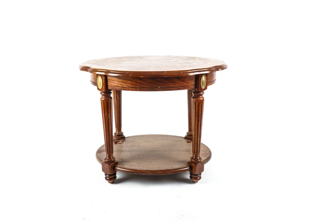 Round Oak End Table ...