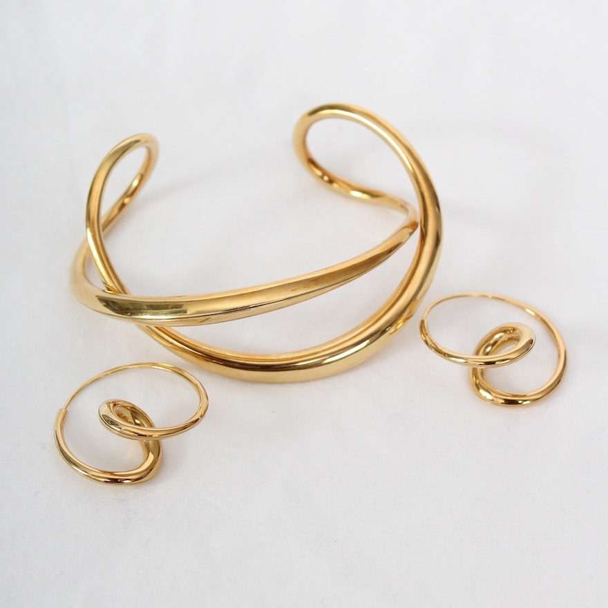 Michael Good 18k Yellow Gold Cuff And Earrings