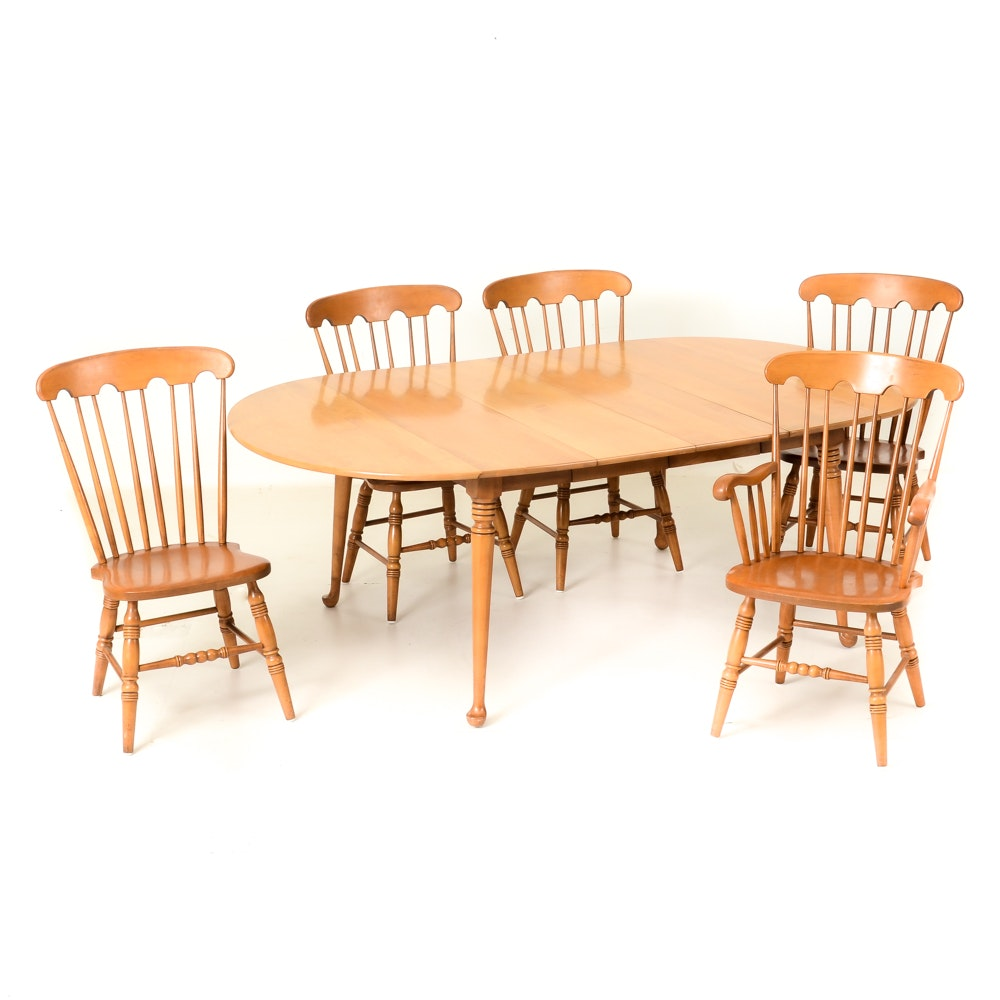 Maple Kitchen Table With Chair And Bench Ebth: Conant Ball Maple Wood Dining Room Table With Chairs : EBTH