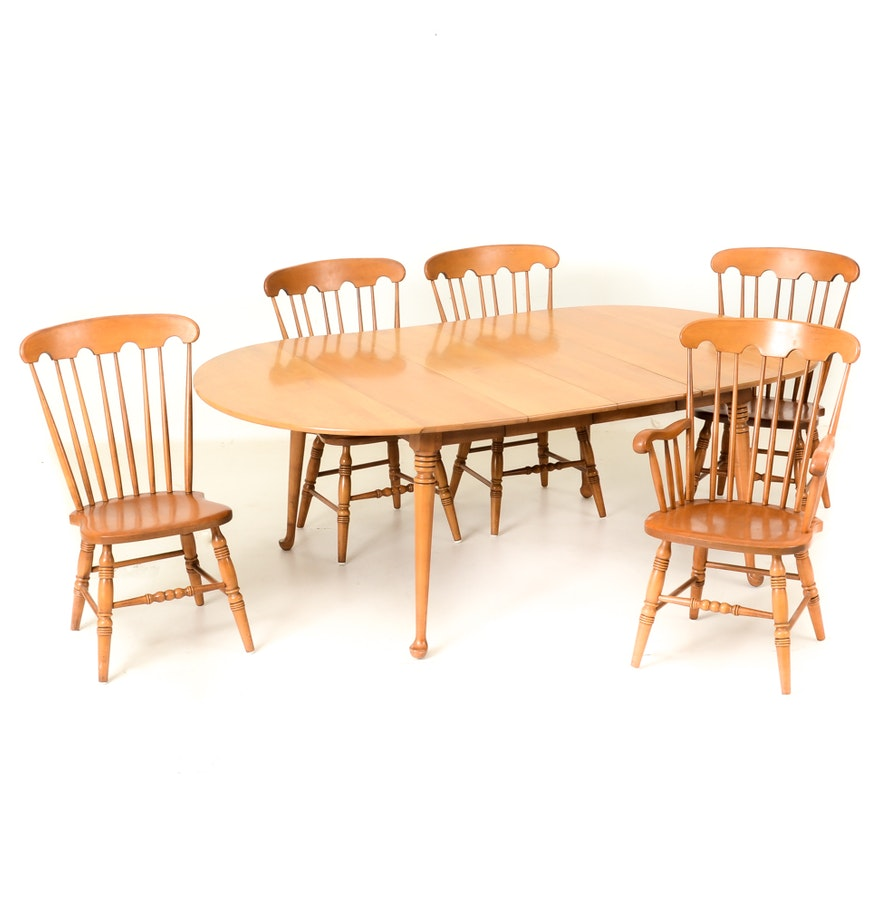 Conant ball maple wood dining room table with chairs ebth for Maple dining room table