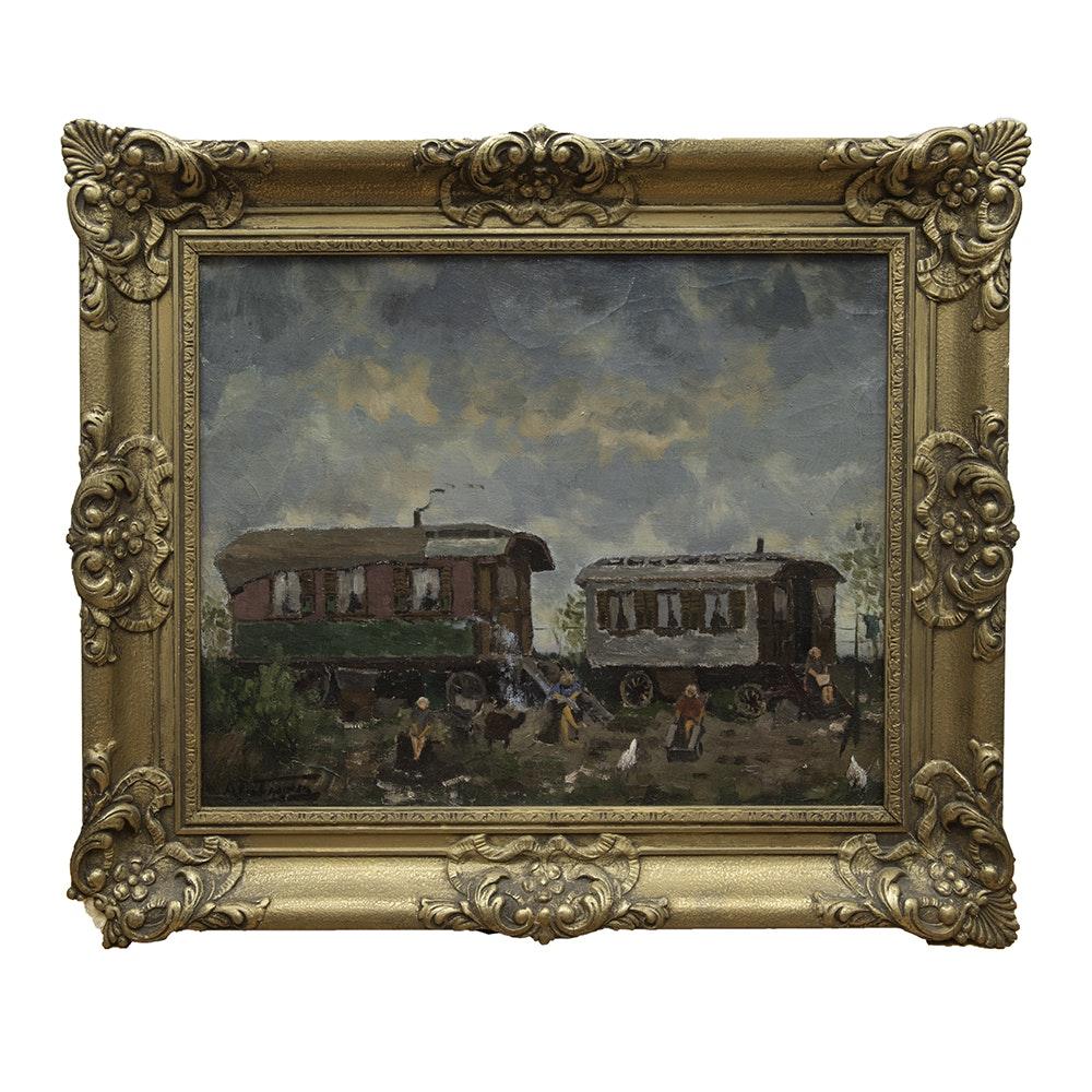 Signed Abandoned Train Car Encampment Oil on Canvas