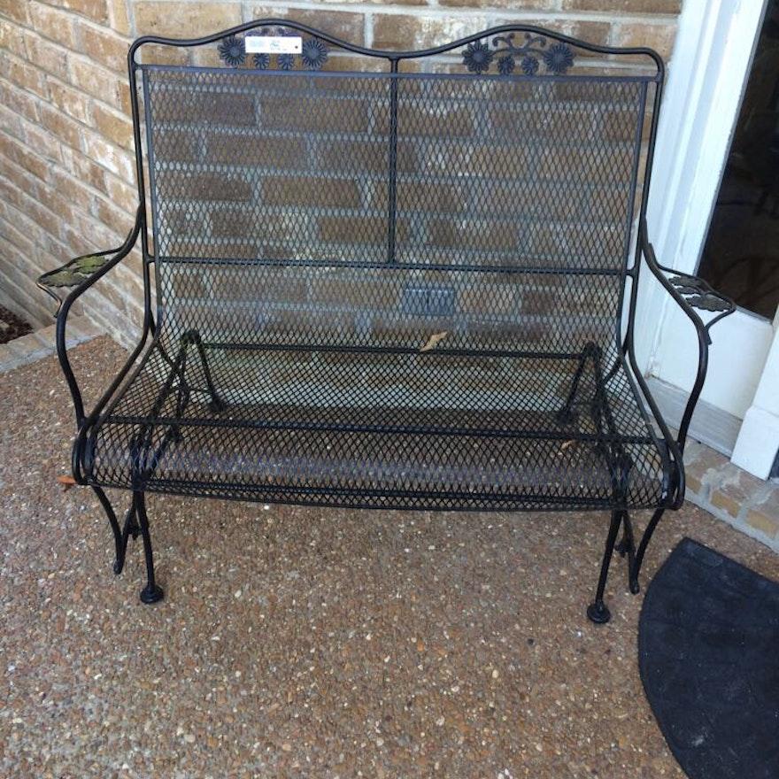 Black Mesh Outdoor Metal Glider Chair Ebth