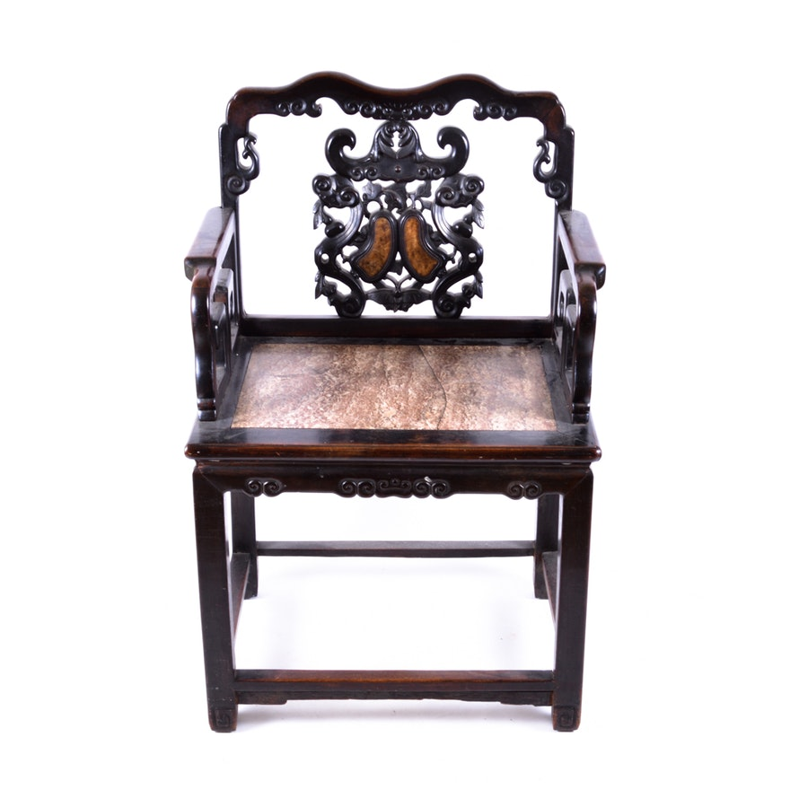 Antique Chinese Rosewood Chair with Marble Accents ... - Antique Chinese Rosewood Chair With Marble Accents : EBTH
