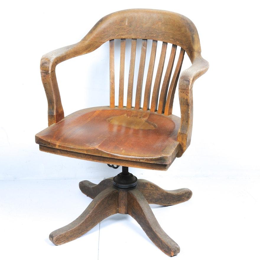 Vintage Oak Swivel Desk Chair ... - Vintage Oak Swivel Desk Chair : EBTH