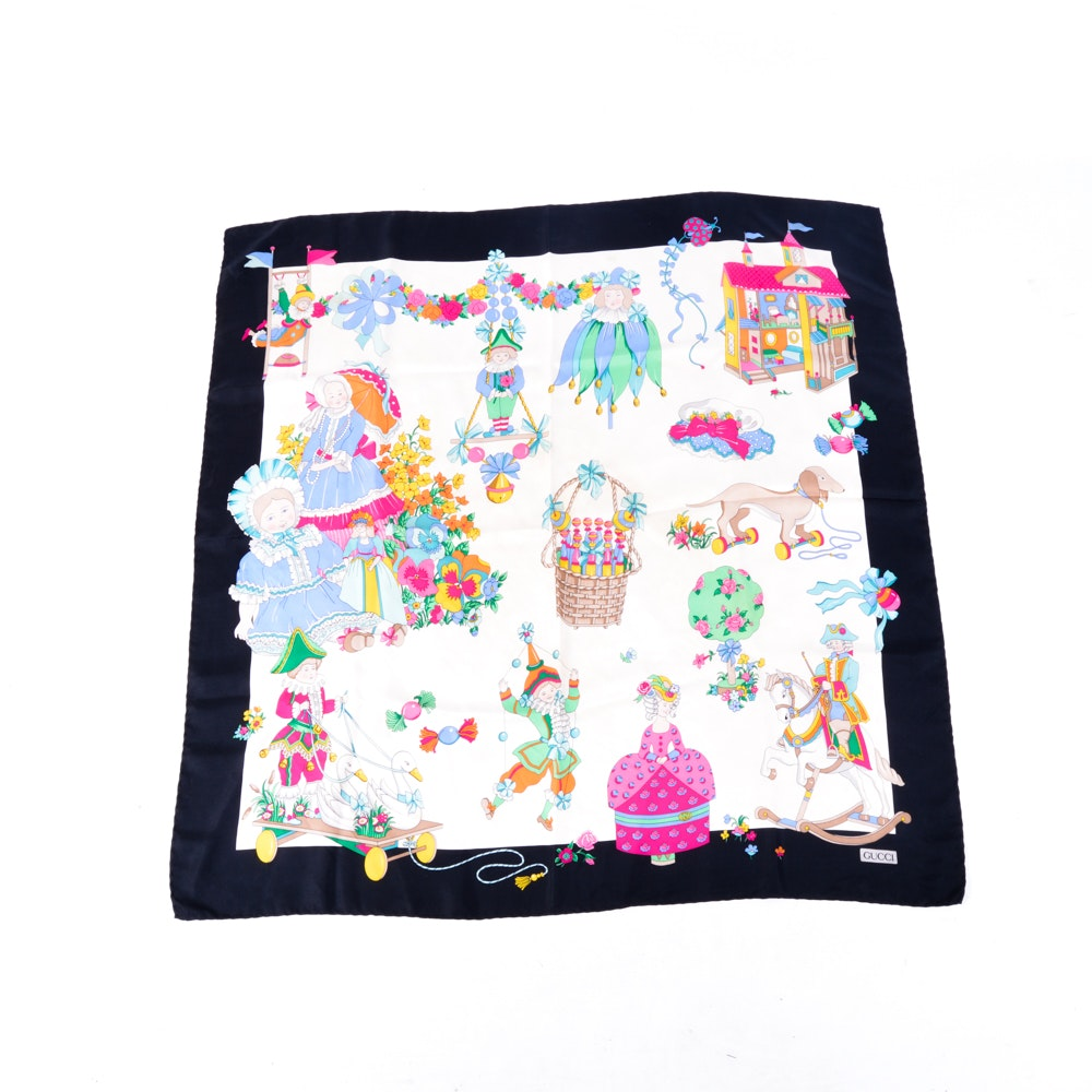 Vintage Gucci Silk Scarf with Dolls and Children's Toys