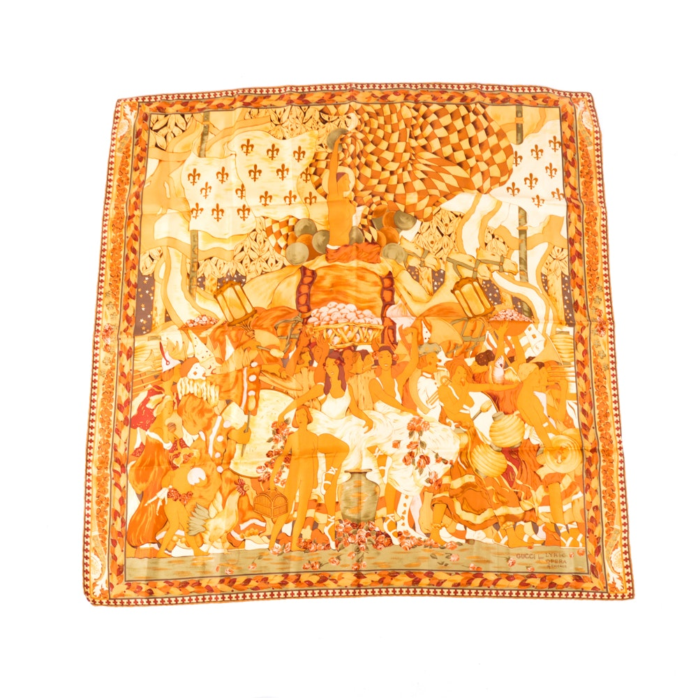 Vintage Gucci for The Lyric Opera of Chicago Silk Scarf