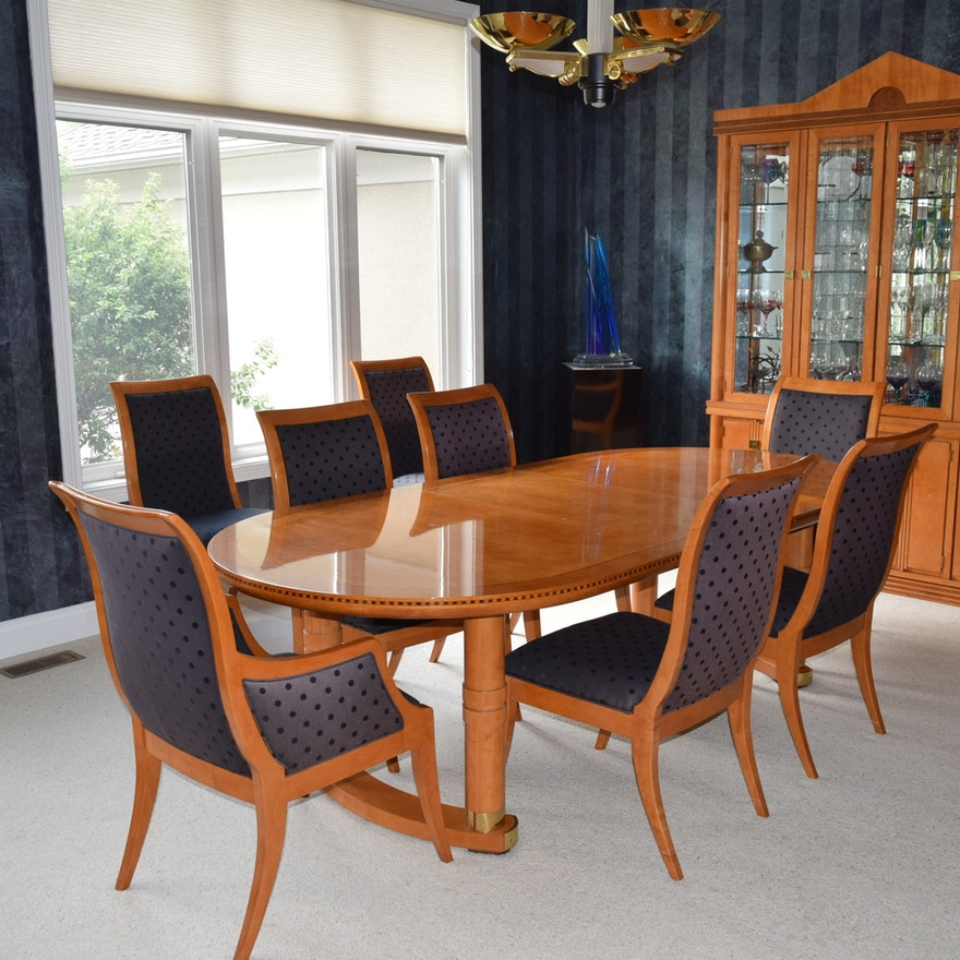 Hickory White Genesis Formal Dining Table With Eight Chairs Ebth