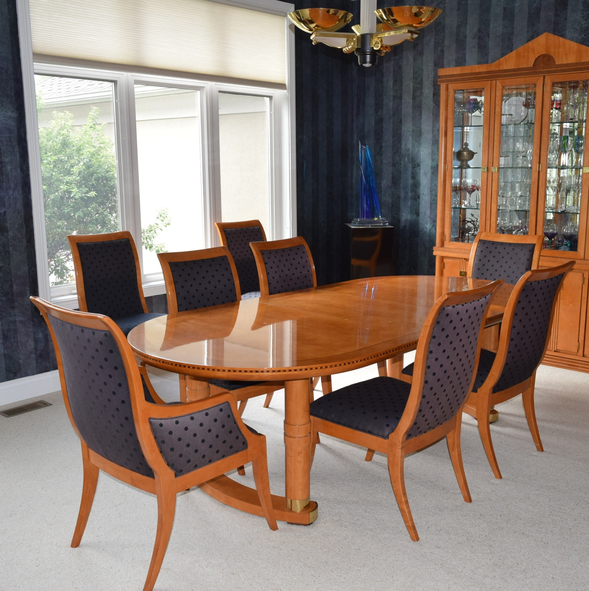 Beau Hickory White U0027Genesisu0027 Formal Dining Table With Eight Chairs ...