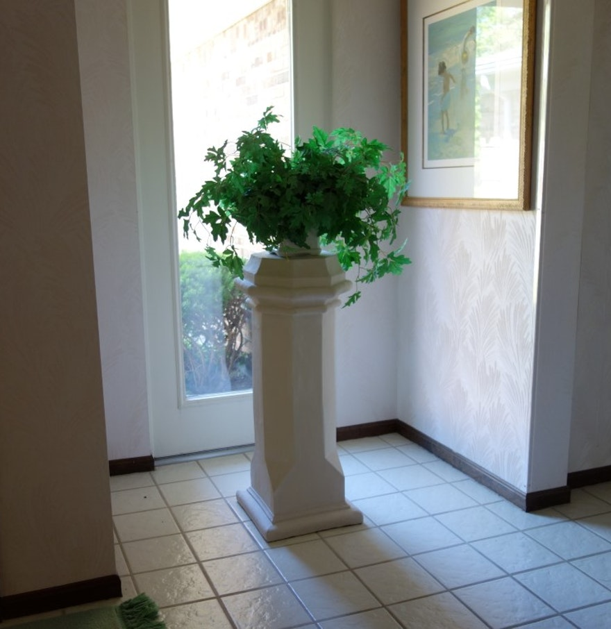 White Paneled Column Pedestal Plant Stand EBTH - Column pedestal plant stand
