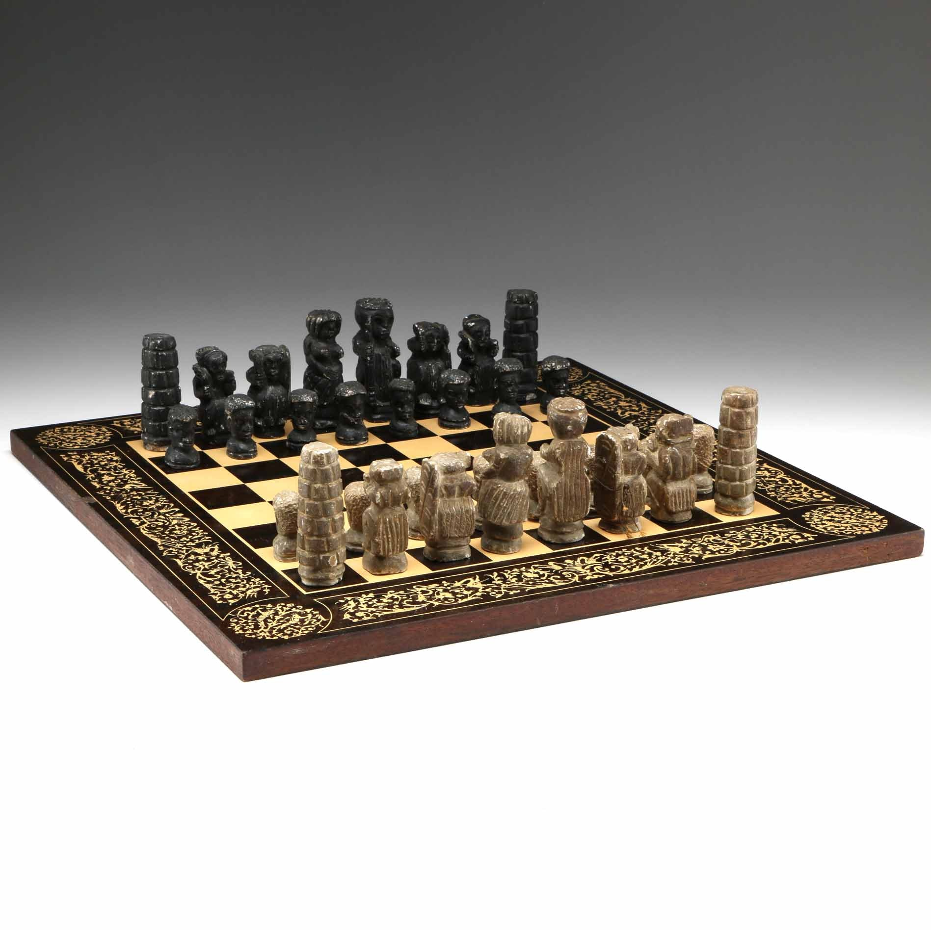 Hand Carved Stone Chess Set With Wooden Chess Board ...