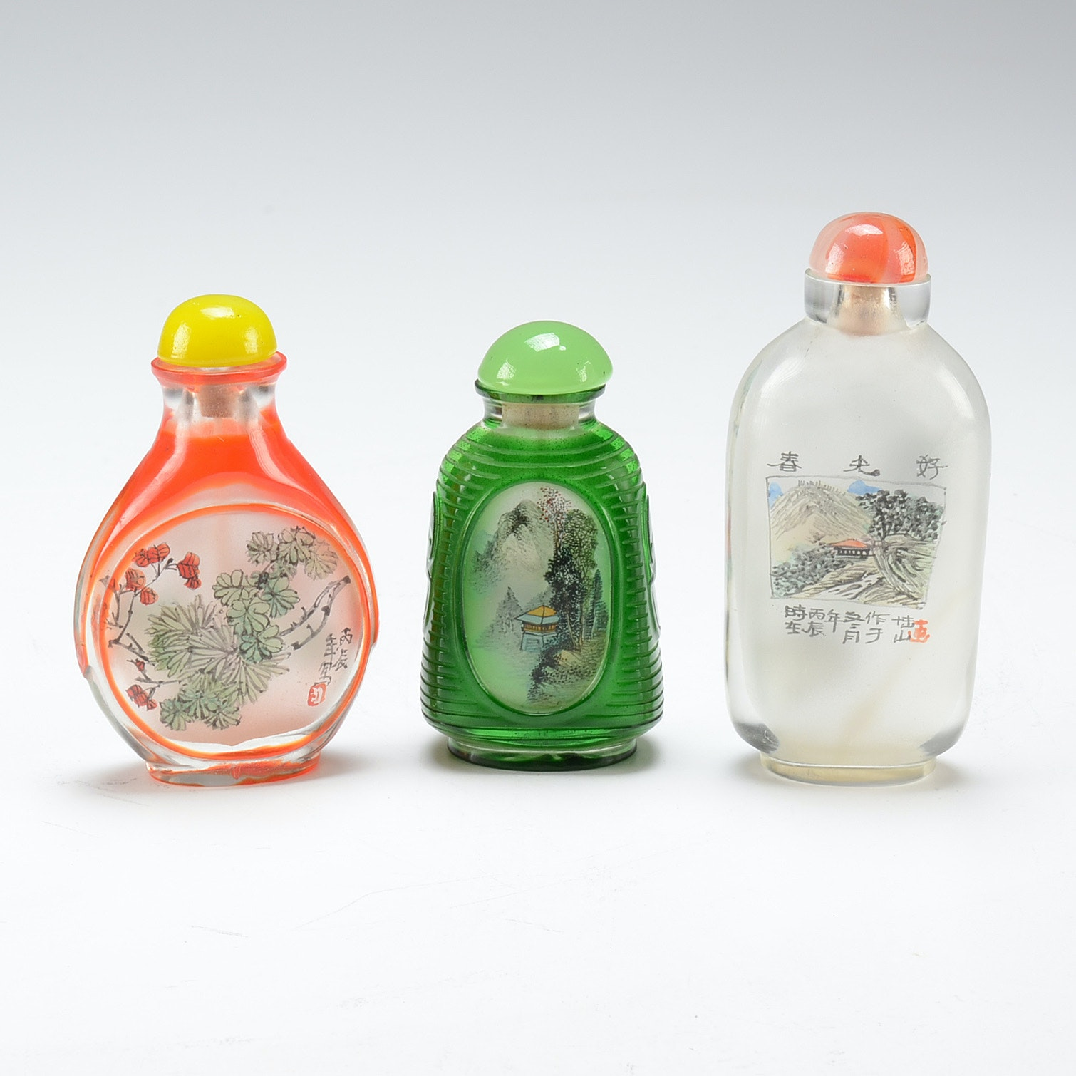 Vintage Chinese Reverse Painted Glass Snuff Bottles