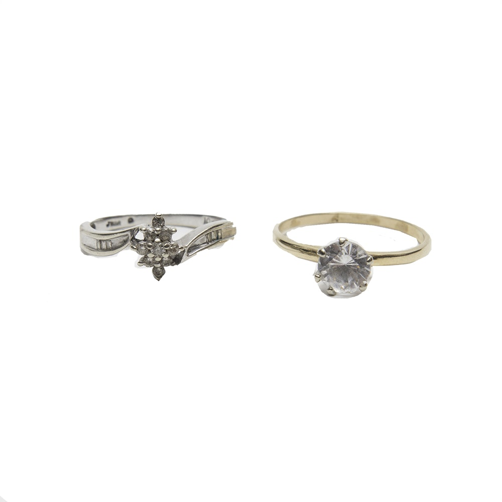 10k White Gold and Diamond Ring and 14K Yellow Gold Ring