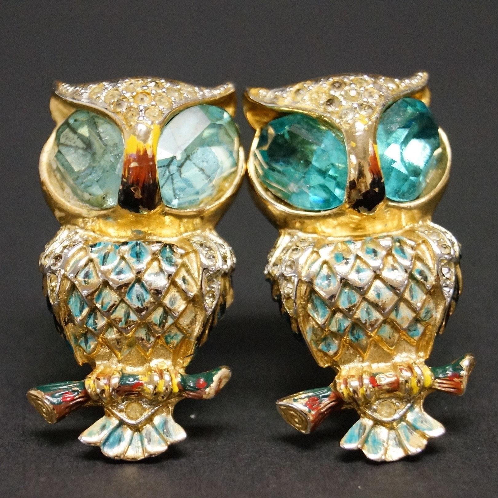 Vintage Sterling Coro Owl Fur Clips