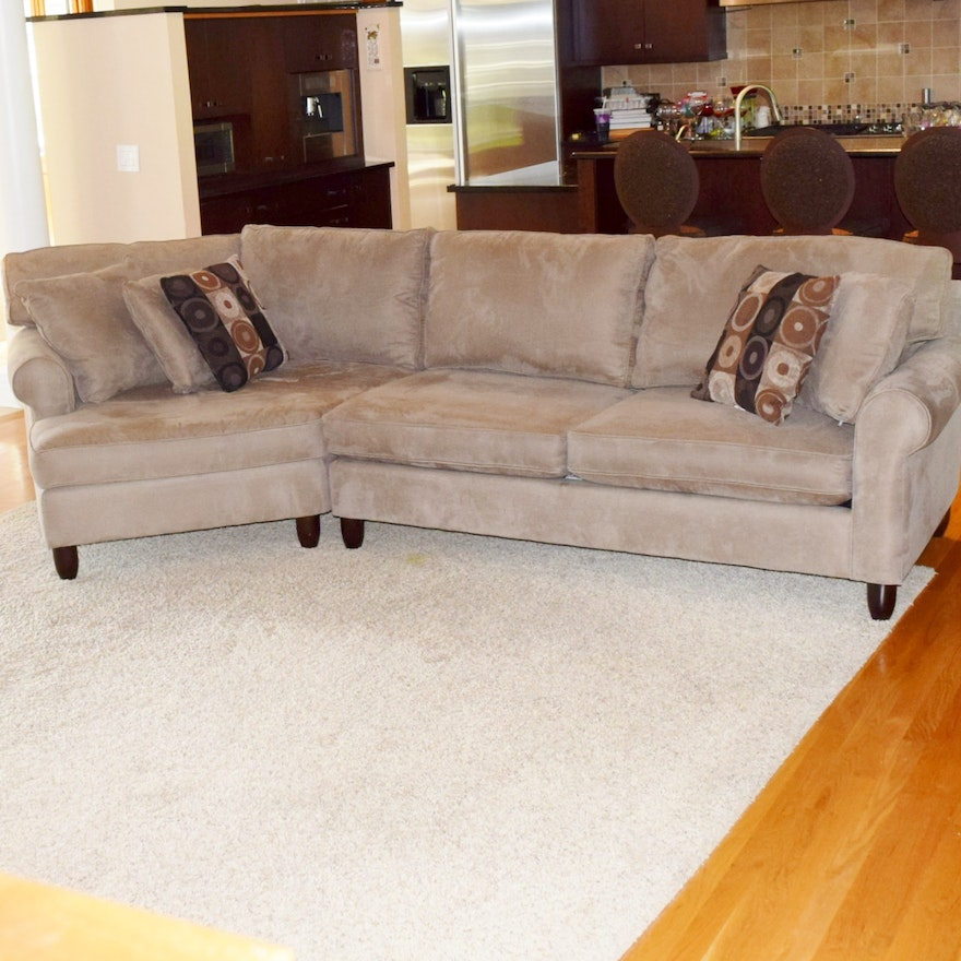 Havertys Corey Left Angle 2 Piece Microsuede Sectional Sofa Ebth