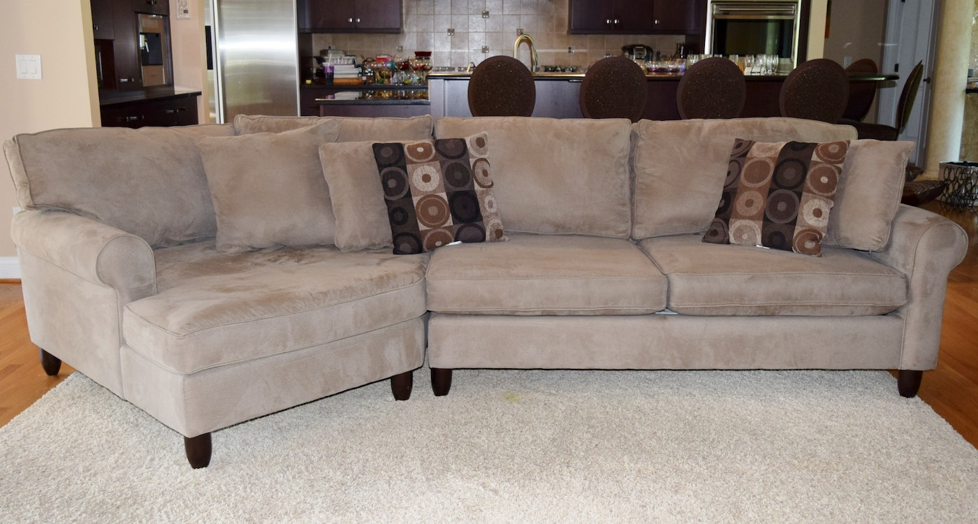 Havertys Quot Corey Quot Left Angle 2 Piece Microsuede Sectional