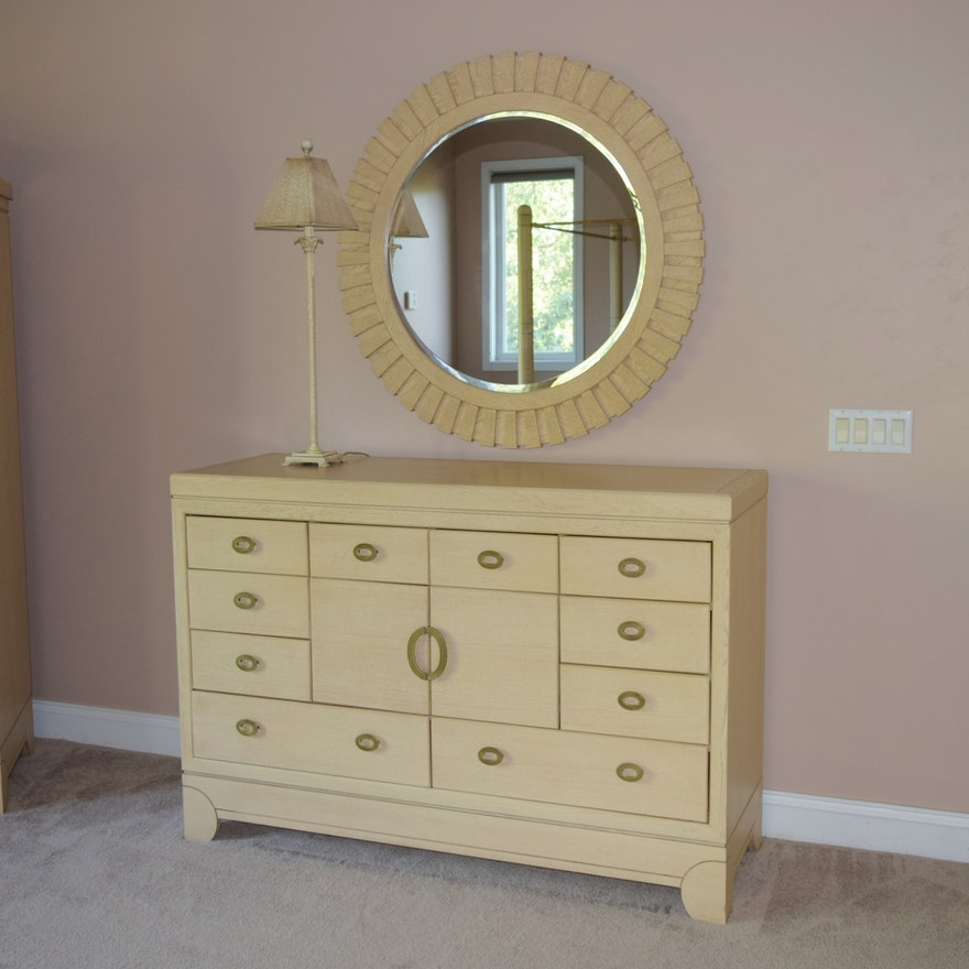 National Mt Airy Furniture Dresser With Mirror And Lamp Ebth