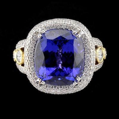 18K Two Tone Gold, Tanzanite and Diamond Openwork Ring