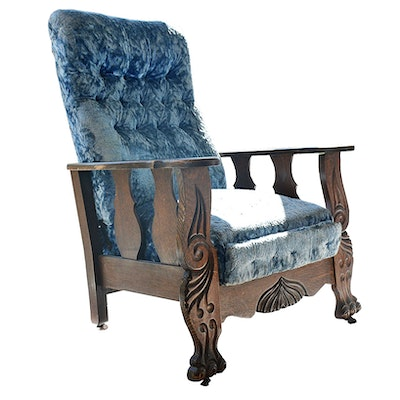 Vintage Arts and Crafts Carved Reclining Chair - Vintage Chairs, Antique Chairs And Retro Chairs Auction In Art