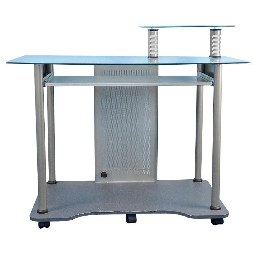 Contemporary Metal And Glass Computer Desk Ebth