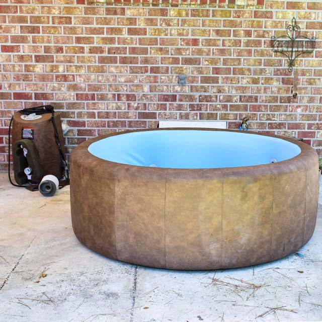 Brown Faux Leather Softub Hot Tub