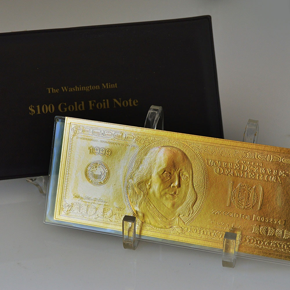 1999 United States Washing Mint $100 22k Gold Foil Note