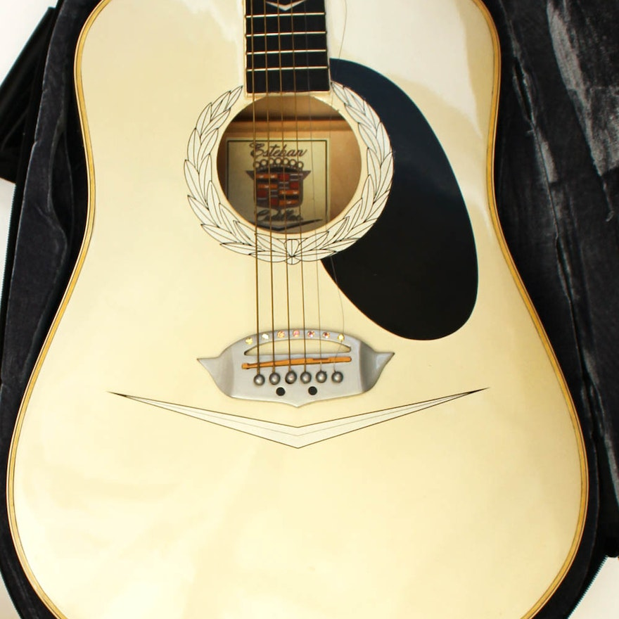 limited edition esteban cadillac acoustic electric guitar with case ebth. Black Bedroom Furniture Sets. Home Design Ideas