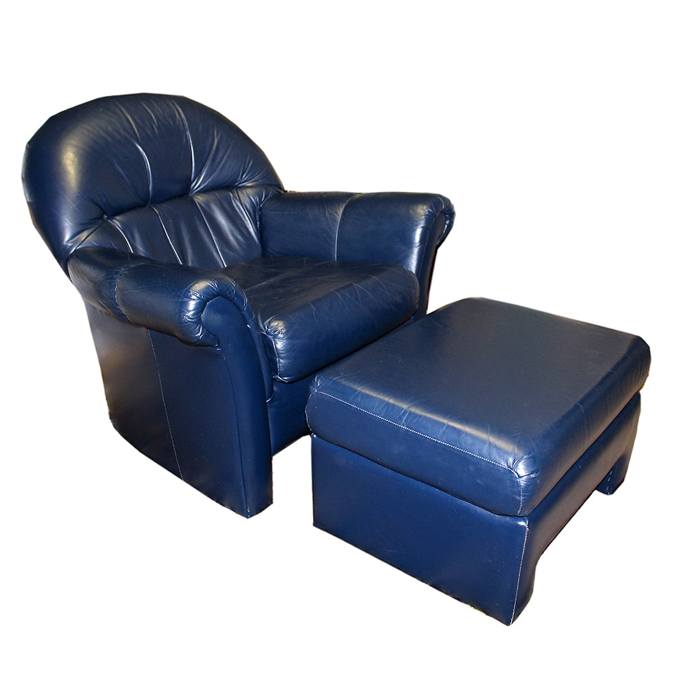 Blue Leather Tub Chair With Matching Ottoman By Stratford