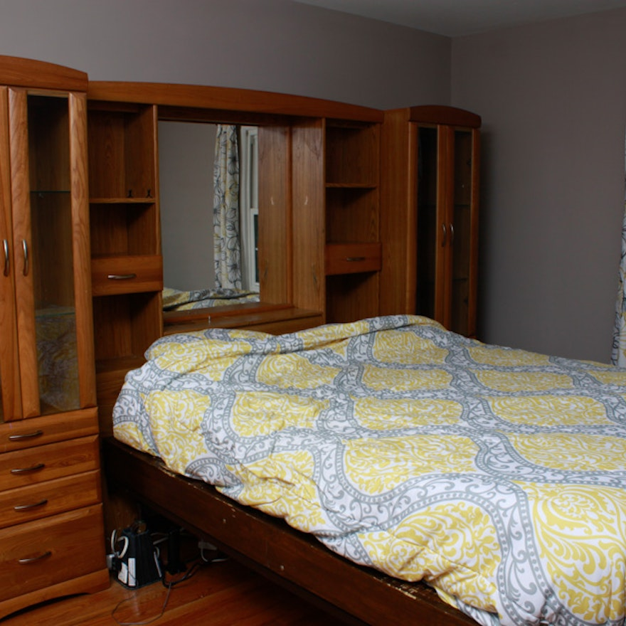 Queen Bed with Wall Unit Storage Headboard : EBTH